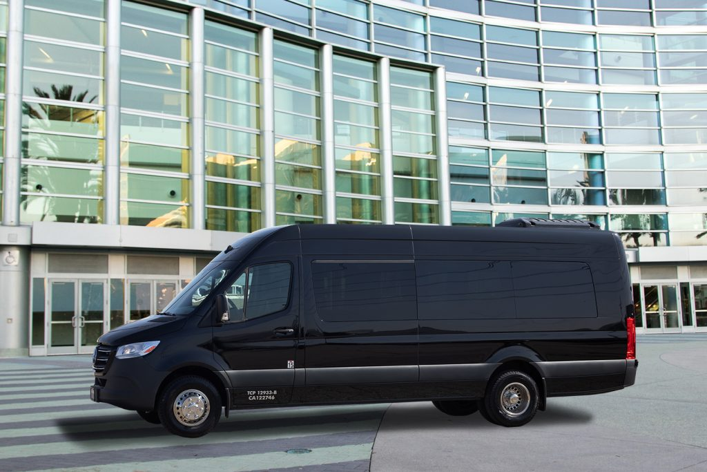 Limo Sprinter Van in front of anaheim convention center